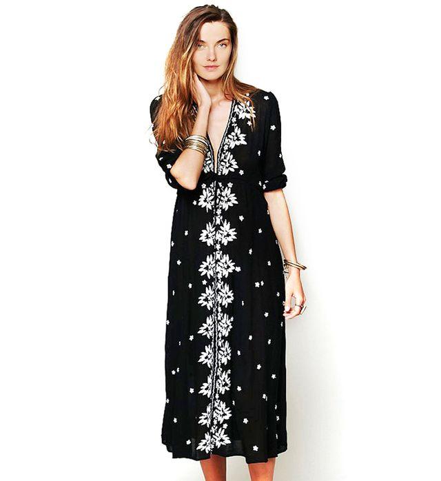 Free People Embroidered Fable Dress in Black