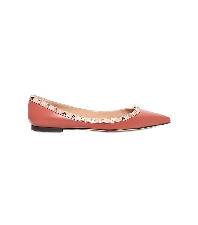 Valentino 10MM Rockstud Leather Ballerina Flats