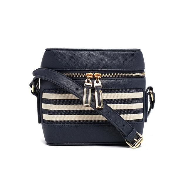 New Look Mini Camera Bag in Stripe in Blue