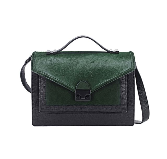 Loeffler Randall Rider Bag in Black Tumbled Leather/Forest Haircalf