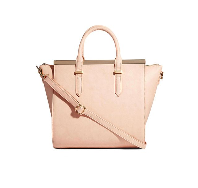 ASOS Handheld Bag with Metal Bar and Winged Detail in Nude