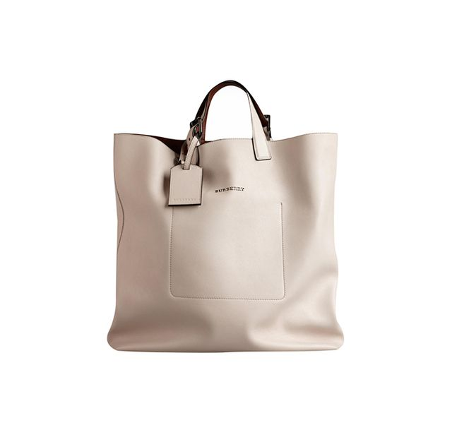 Burberry Large Bonded Leather Portrait Tote Bag in Stone