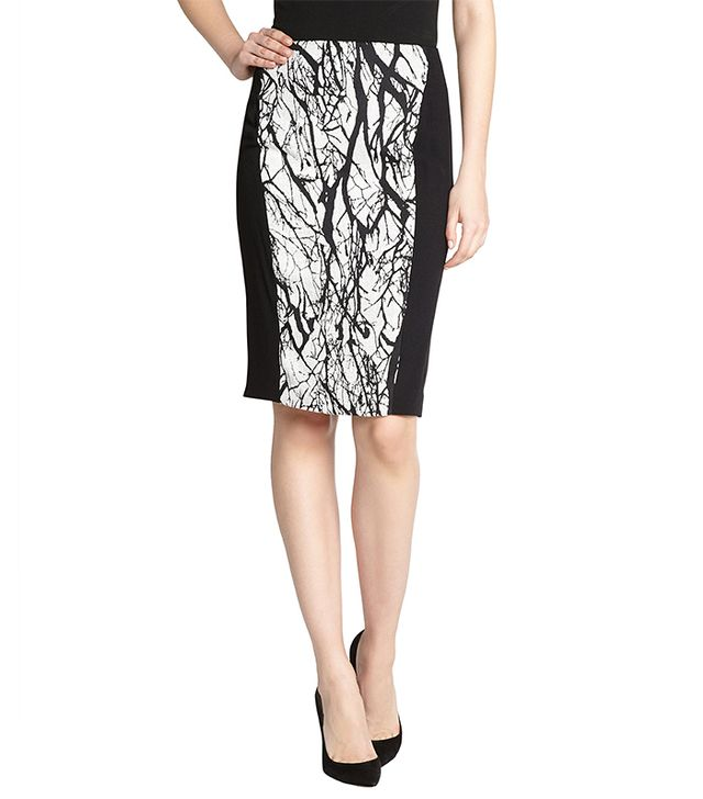 Rachel Roy Black And White Tree Print Pencil Skirt