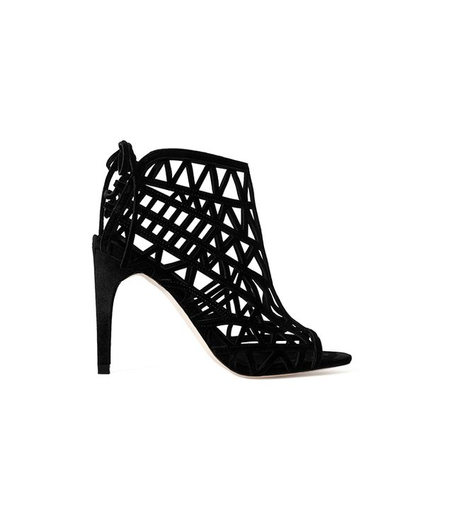 Zara Open Work High Heeled Leather Sandals