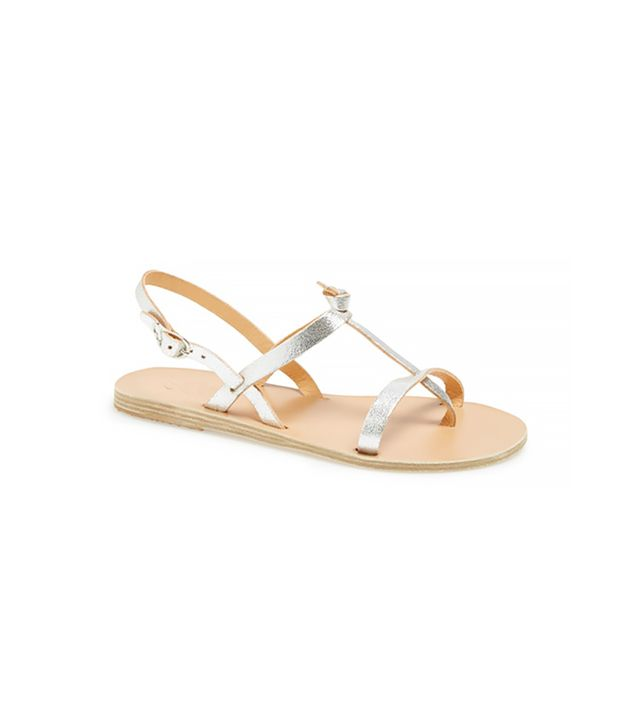 Ancient Greek Sandals Galini Metallic Leather Thong Sandals