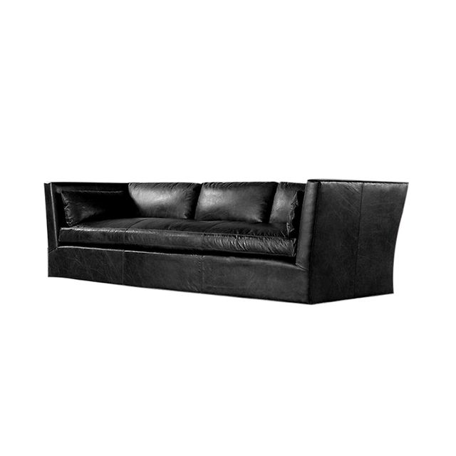 Restoration Hardware Belgian Shelter Arm Leather Sofa