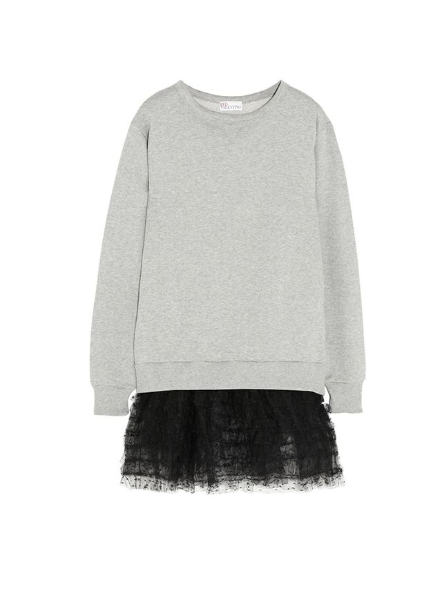 REDValentino Point D'esprit-Trimmed Cotton-Jersey Sweatshirt