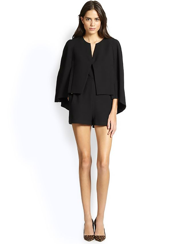 BCBGMAXAZRIA Cape Jacket-Overlay Short Jumpsuit