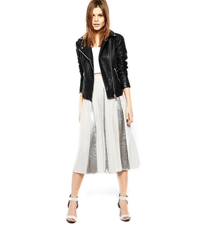 ASOS Pleated Midi Skirt With Metallic Inserts