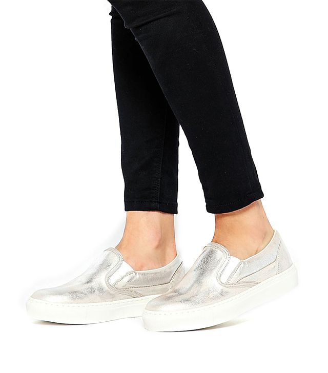 Warehouse Metallic Leather Slip On Sneakers