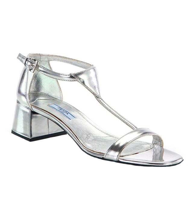 Prada Metallic Patent Leather T-Strap Sandals