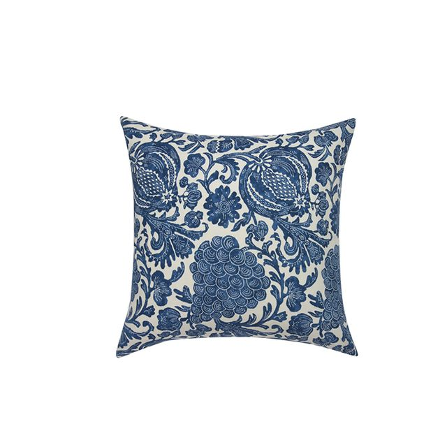 Janet Kain Blue Belgian Linen Batik Pillow