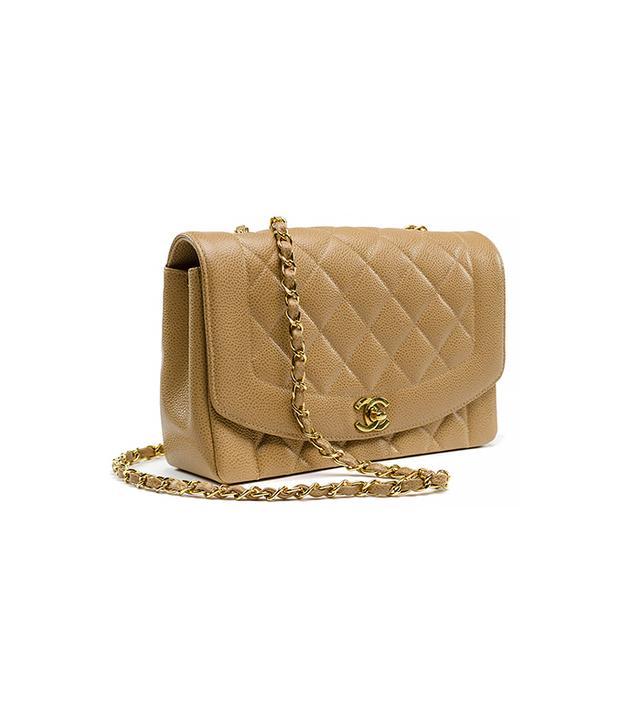 Chanel Vintage Beige Caviar Leather Flap