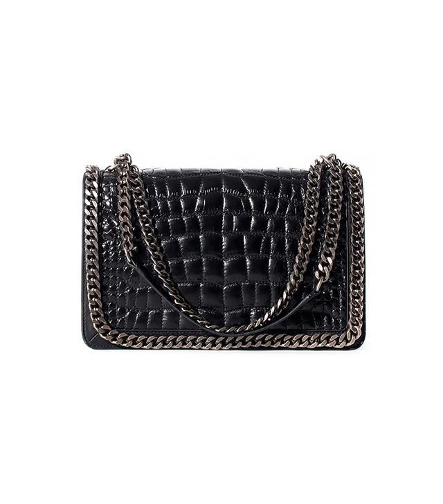 Zara Crocodile Pattern Leather City Bag