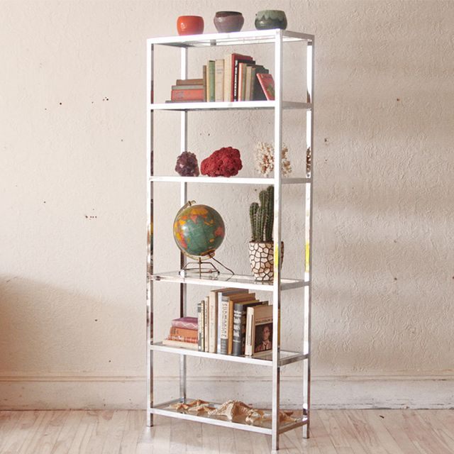 OtherTimesVintage Chrome Etagere Wall Unit Bookshelf