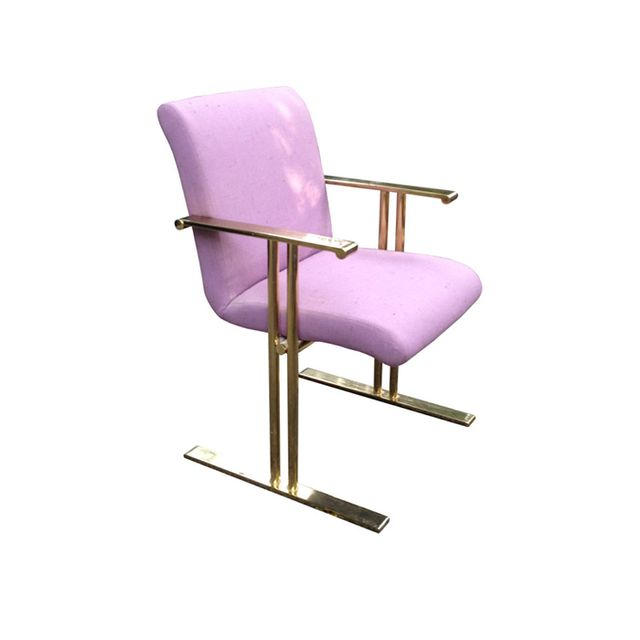 RefineModern Pair Brass Armchairs by Directional