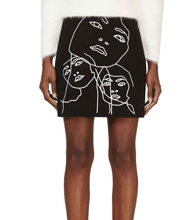 Stella McCartney Black Embroidered Portait Skirt