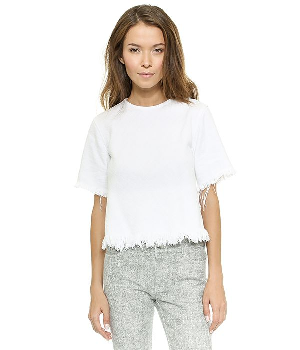 T by Alexander Wang Crewneck Crop Top with Frayed Hem