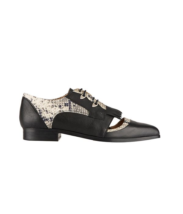 Thakoon Addition Karolina 2-Paneled Snake-Effect Leather Brogues