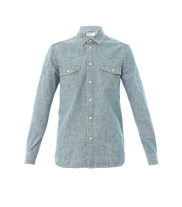 Saint Laurent Blue Chambray Shirt