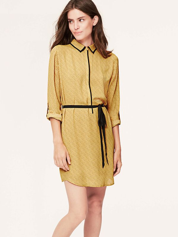 LOFT Tiny Floral Piped Shirtdress
