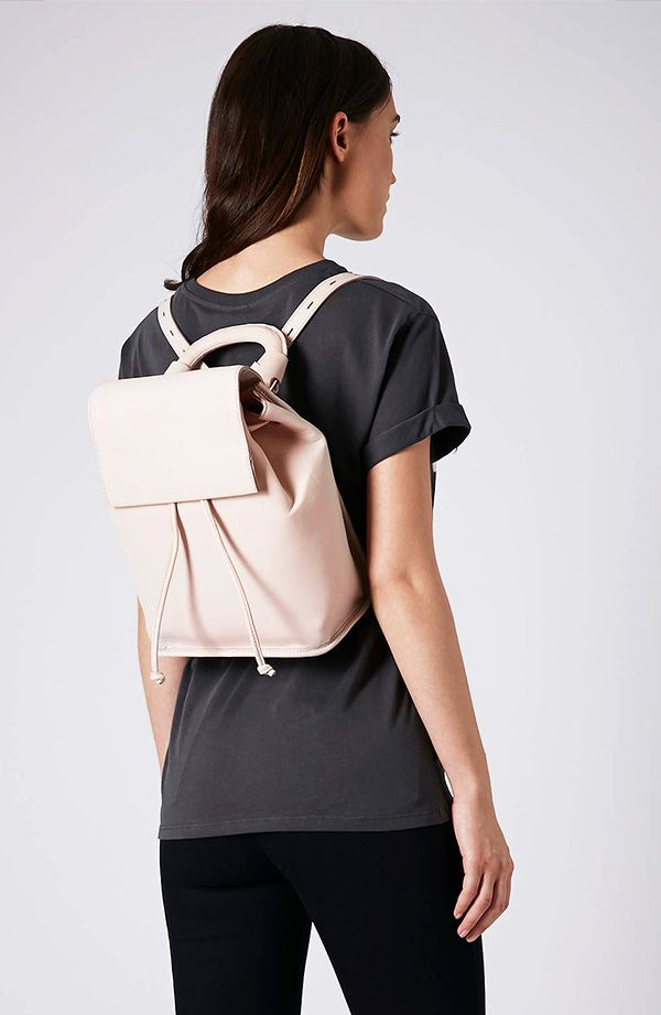Topshop Premium Clean Leather Backpack
