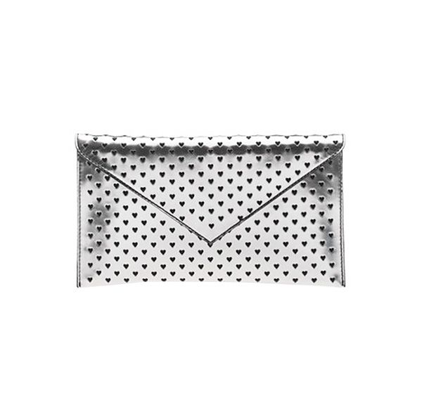 J.Crew Heart Perforated Metallic Clutch