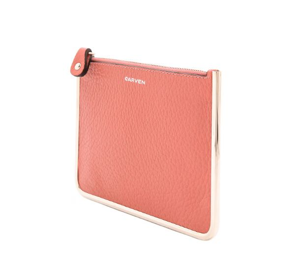 Carven Leather Zip Clutch