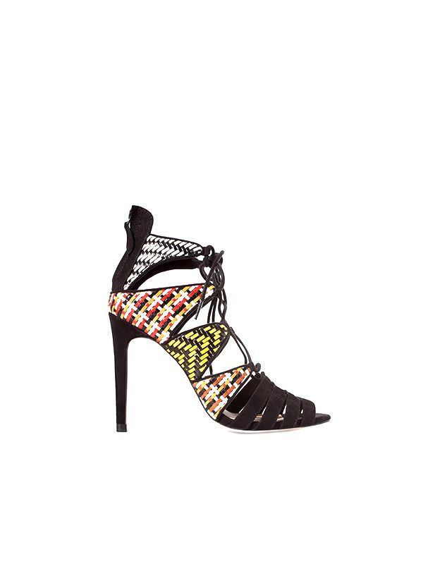 Zara Woven Ankle Boot Sandal with High Heel