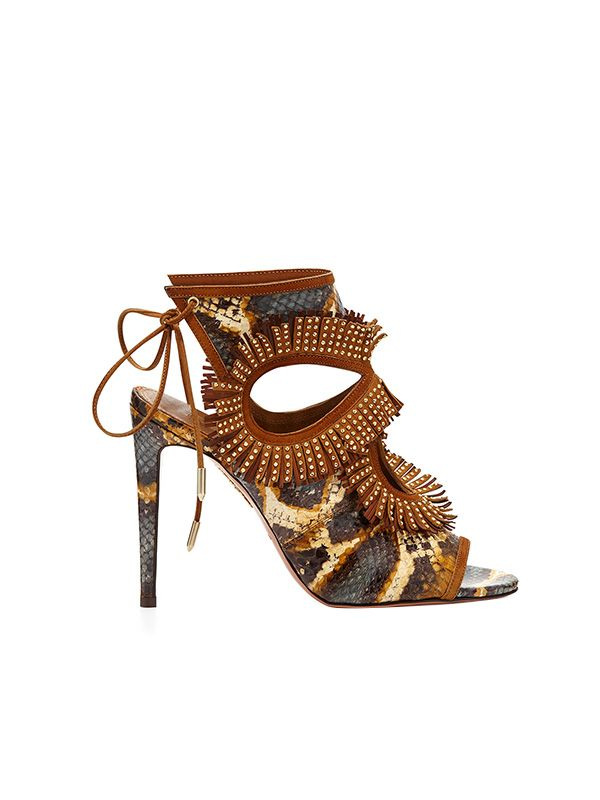 Aquazzura Snakeskin Fringe Cutout Sandal