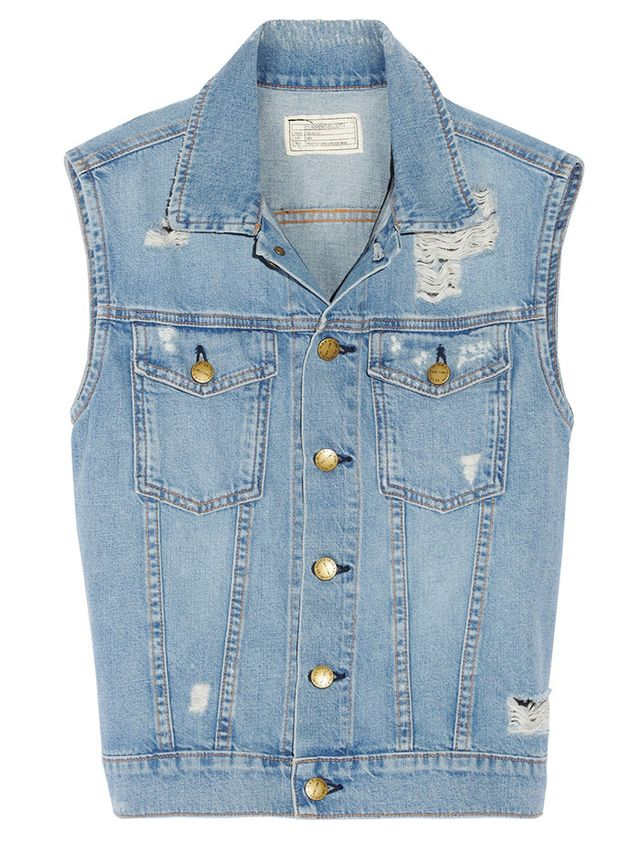 Current/Elliott Sleeveless Rider Distressed Denim Vest