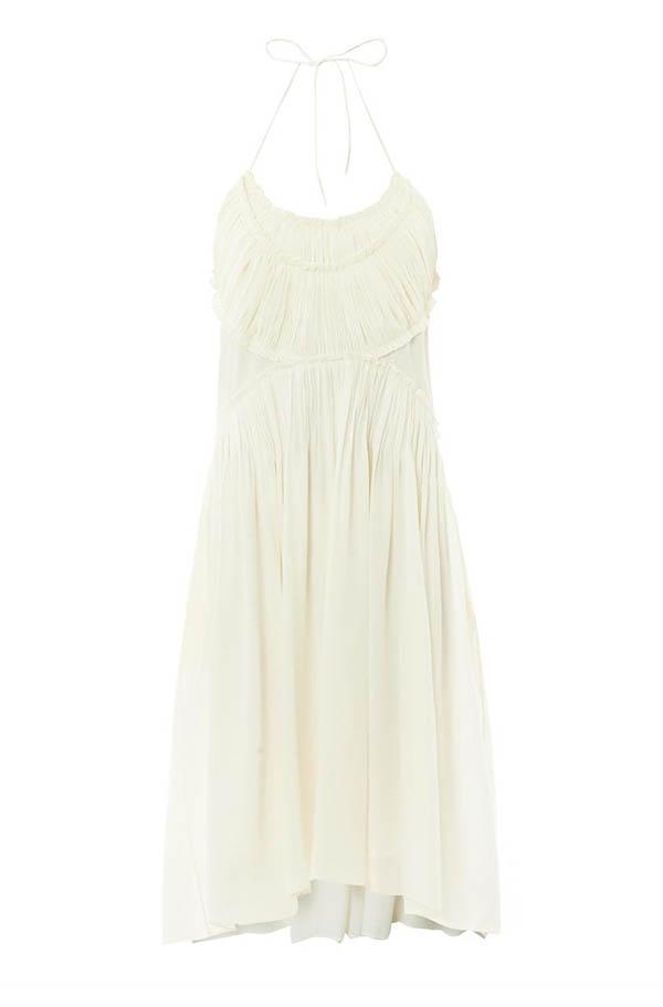 Chloe Gathered-Panel Silk Dress