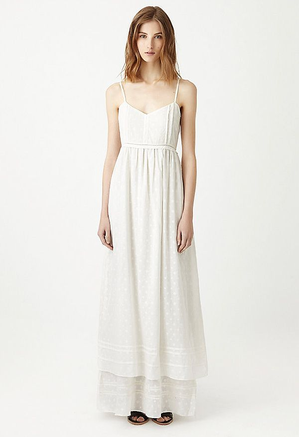 Band of Outsiders Fil Coupe Tiered Maxi Slip Dress