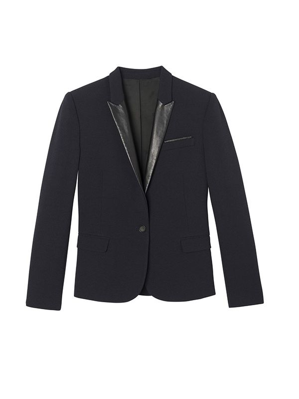 The Kooples Crepe Jacket with Leather Collar