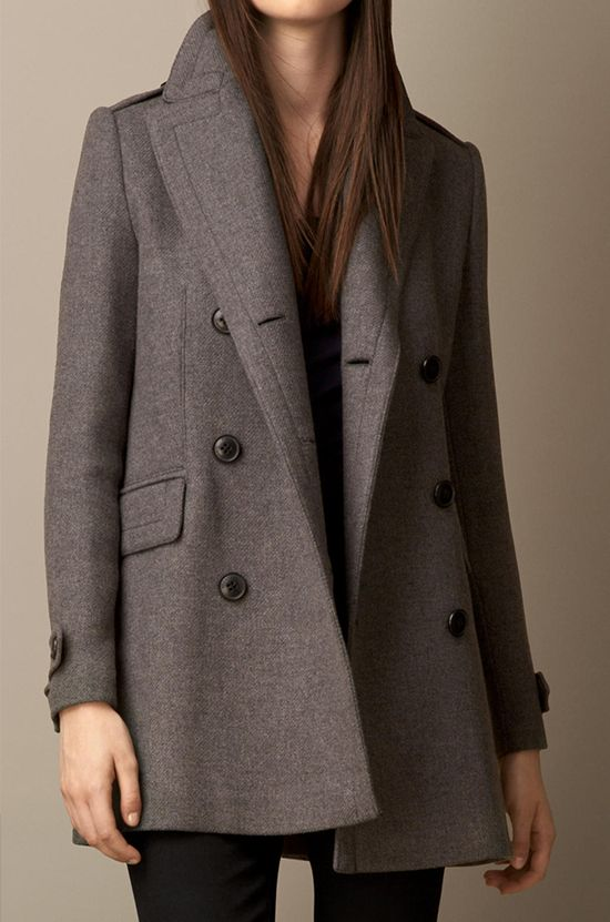 Burberry Oversize Pea Coat With Leather Undercollar