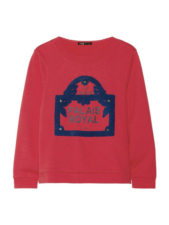Maje Guillaume Embellished Cotton French Terry Sweatshirt
