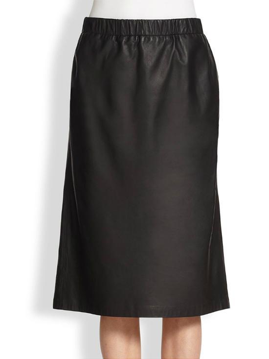 Theory Teeka Easeful Leather Midi Skirt