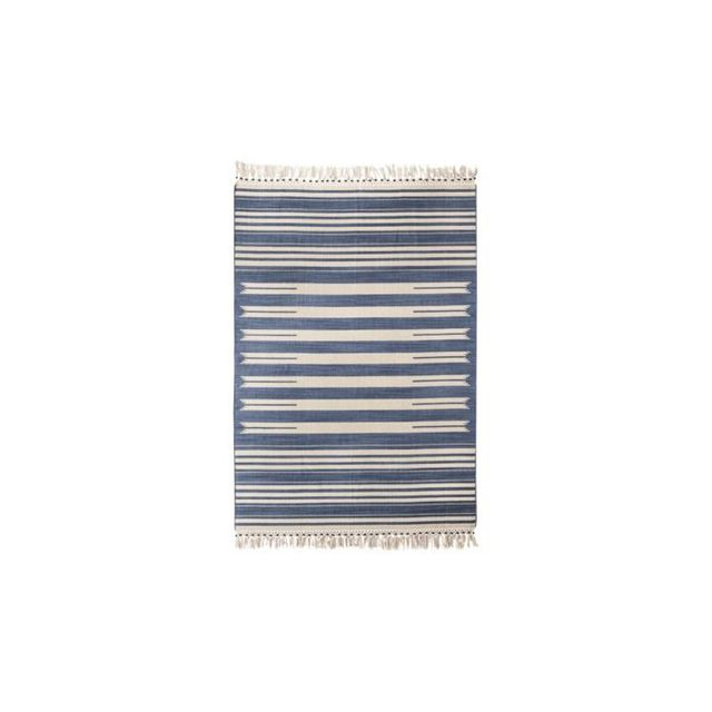 Mudhut Beaded Flatwoven Stripe Area Rug