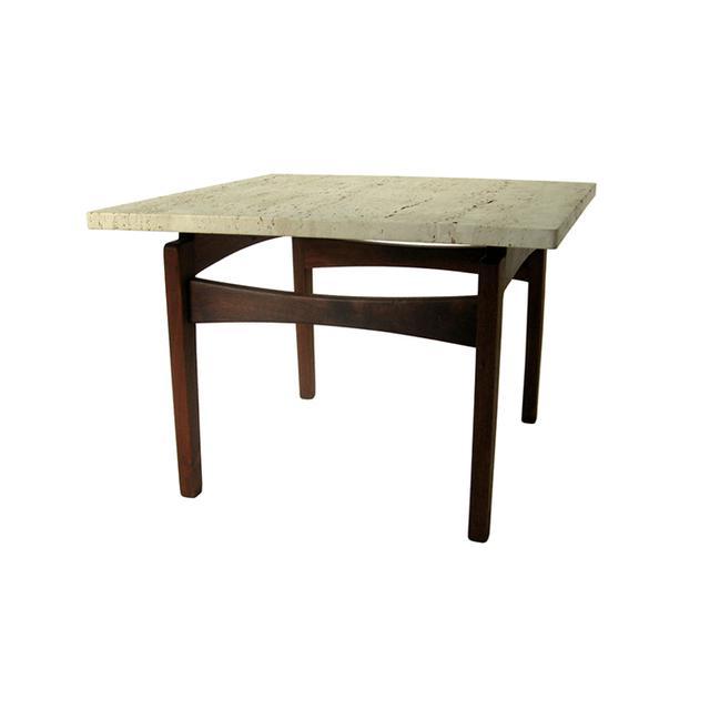 Arden Riddle Black Walnut Travertine End Table