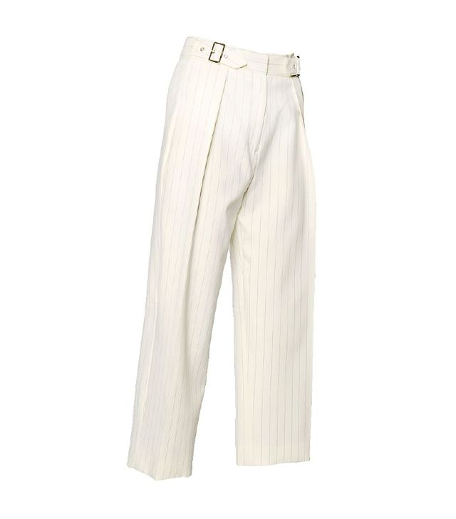 Salvatore Ferragamo Pinstripe Cool Wool High Waist Trousers