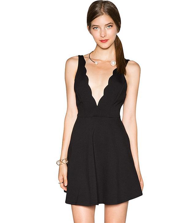Pixie Market Lea Scalloped Little Black Dress