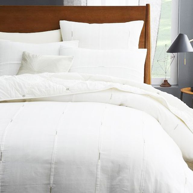 West Elm Silver Stitch Pleat Duvet Cover + Shams