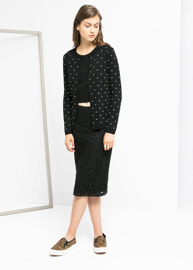Mango Embossed Polka-Dot Cardigan