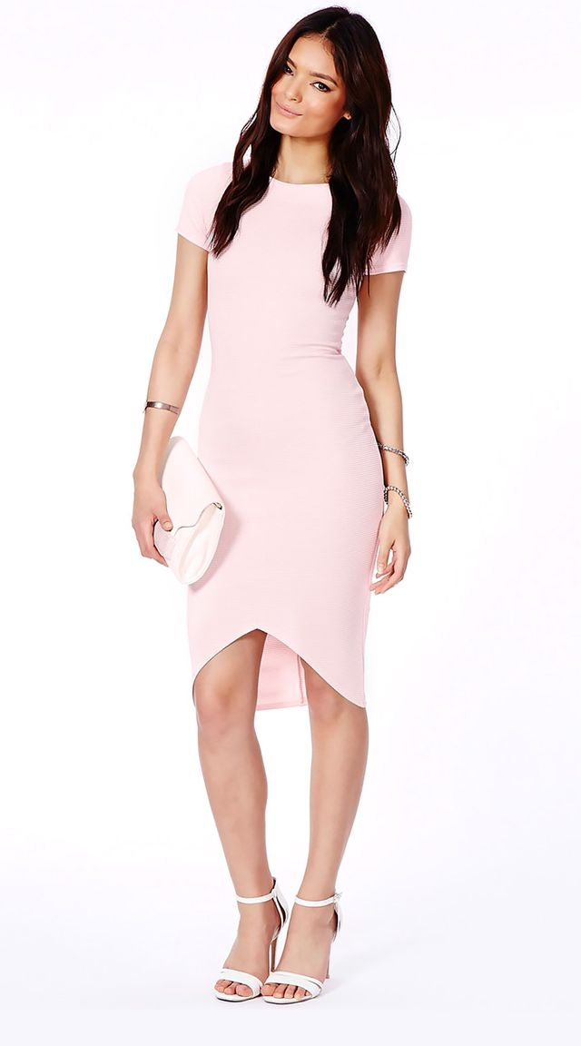 Missguided Radima Pink Ribbed Dress