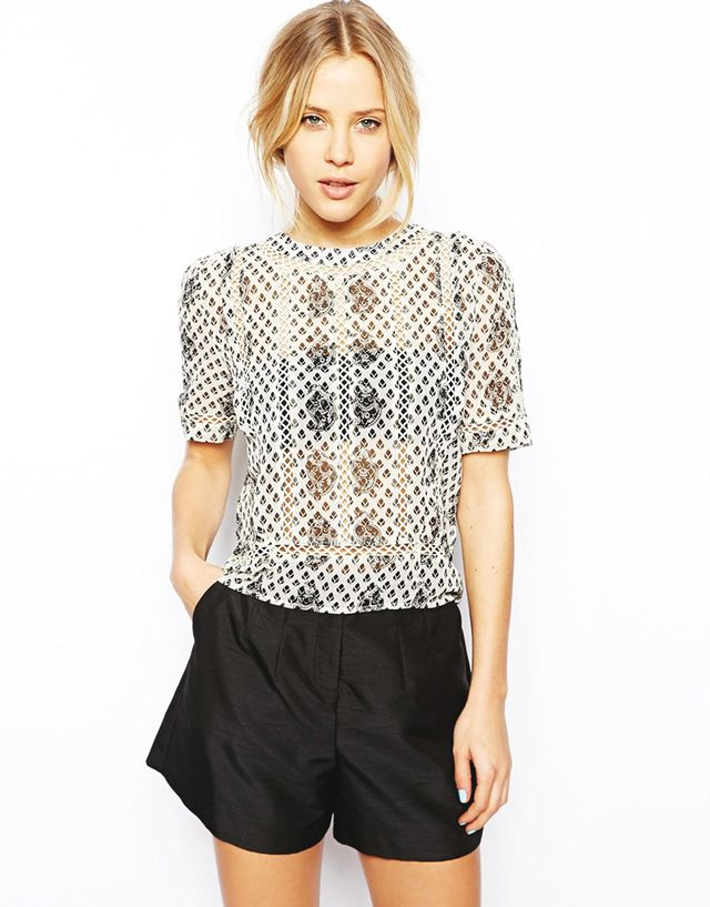 Asos Mono Floral Lace Insert Top