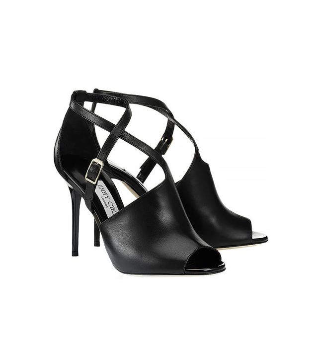 Jimmy Choo Leigh Nappa and Patent Leather Peep Toe Sandals