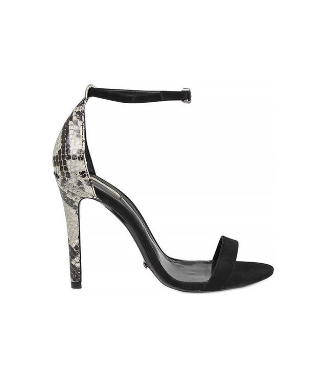 Schutz Nubuck & Snake Embossed Sandals