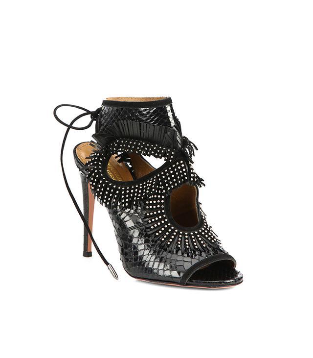 Aquazurra Sexy Fringe Snakeskin Cutout Sandals