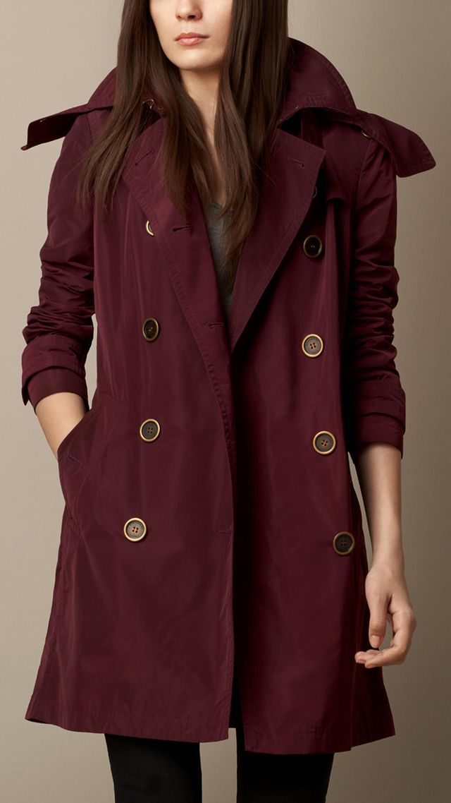 Burberry Brit Mid-Length Technical Taffeta Hooded Trench Coat