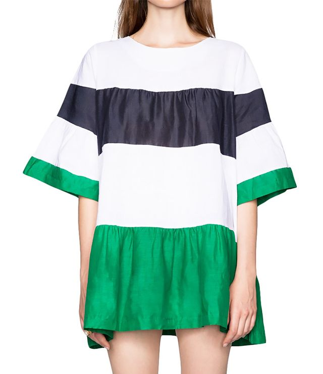 Pixie Market Colour-Block Striped Babydoll Dress